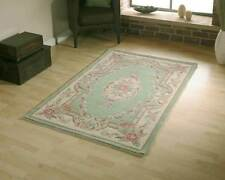 GREEN CHINESE AUBUSSON TRADITIONAL FLORAL WOOL RUGS HANDMADE  4'x2' or 120x60cm