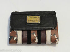 Fossil SL4944194 Emory PW Multifunction Brown Patchwork Leather Wallet NWT^^