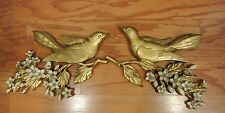 2 Piece Vintage 1960's Syroco Gold Wood Wall Art Plaques Birds Dogwood Flowers