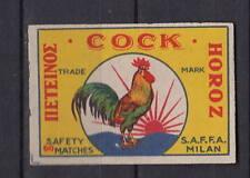 Ancienne étiquette allumettes Italie   Coq Average 60