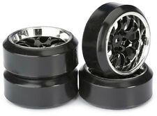 4PK 1/10th RC Drift Wheels Deep Dish Split Rim W's + Drift Tyres 12mm Hex