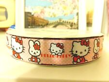 "7/8"" (23mm) Hello Kitty Grosgrain  Ribbon 2 yards Free Shipping"