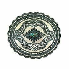 Navajo Roland Dixson Sterling Silver Turquoise Scalloped Belt Buckle