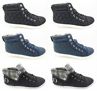 Ladies Hi Top Trainers Shoes Pumps Lace Up Womens Girls Flat New High Size 3-8