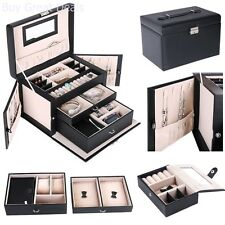 Vintage Look Extra Large Jewelry Box Armoire Cabinet Rings Display Travel Case