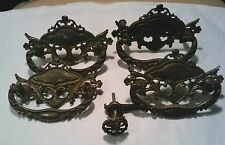 4 matching solid brass washstand handles early 1900's with original catch/latch