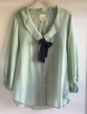 Odille Anthropologie 100% Silk Mint Green Bow Blouse Top Size M