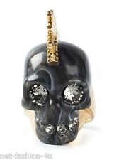 ALEXANDER McQUEEN MOHAWK BLACK SKULL COCKTAIL RING IT 13 US 6.5 UK N BNWT BOX