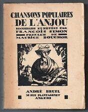 FRANCOIS SIMON CHANSONS POPULAIRES DE L'ANJOU 1926 ILLUS. FOLKLORE MUSIQUE
