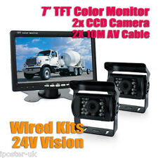 "12-24V 2x CCD Reversing Camera Kit For Truck Bus Van Lorry Horsebox + 7"" Monitor"