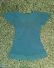 Lovely ladies size 12 blue t-shirt top with broderie anglais type