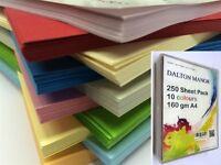 250 SHEET A4 MEGAPACK CARD STOCK 10 DIFFERENT COLS SUPPLIED A CLEAR STORAGE BOX