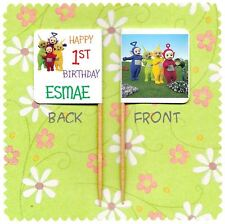 20 PERSONALISED TELETUBBIES CUP CAKE FLAG Party Pick Topper Birthday Party