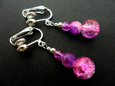 A PAIR OF PINK & PURPLE CRACKLE GLASS BEAD  CLIP ON EARRINGS. NEW.