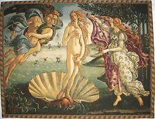 """BOTTICELLI BIRTH OF VENUS, 34"""" BELGIAN TAPESTRY LINED WALL HANGING + ROD SLEEVE"""