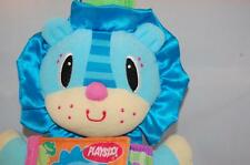 Playskool Soft Book Picture Puppet Story Blue Lion Plush Squeaker Rattle 12""