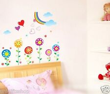 Happy Flowers & Rainbow WALL DECAL Room Stickers Girls Room Nursery Room Decor