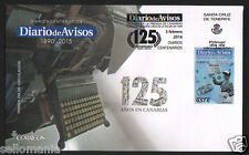 2016 FDC CENTENARY NEWSPAPERS DIARIO DE AVISOS SPAIN EDIFIL 5029 ** TP20043BIS
