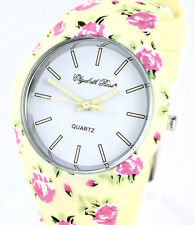 Elizabeth Rose Ladies Vintage Inspired Floral Quartz Watch with Silicone Strap
