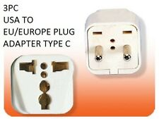 3PK US USA to EU Europe Power Plug Adapter American To European Socket Type C