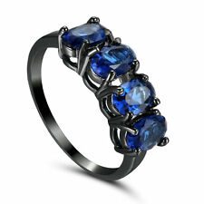 Sapphire Blue CZ Wedding Ring Engagement Rings Size 6.5 14KT Black Gold Filled