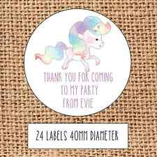 Unicorn Party bag stickers 24 thank you coming sweet cone birthday rainbow