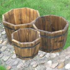 octagonal wooden garden planters set of 3 flower pots small large