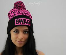 SWAG ROLEY BOBBLE POM POM KNITTED BEANIE WOOLY HAT CAP, PINK, MEN, LADIES