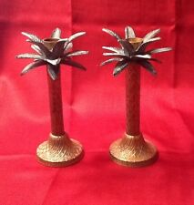 Solid Brass Palm Tree Candle Holder Candle Stick Home Decor Pineapple