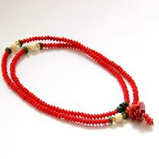 Red Coral Tibet Buddhist 216 Prayer Beads Mala Lotus Flower Pendant