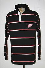 EUC Barbarian Detroit Red Wings Black Red White Stripe Rugby Jersey Shirt Sz XL