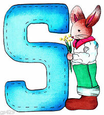 "5"" ALMA LYNN BUNNY ALPHABET ABC'S LETTER S NAME  CUSTOM FABRIC APPLIQUE IRON ON"