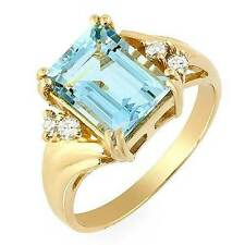 Estate ring 2.27 ct Aquamarine and diamond 14k
