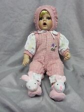 PORCELAIN BABY GIRL DOLL,JOINTED IN PINK OUTFIT, BUNNY SLIPPERS -NEW IN GIFT BOX