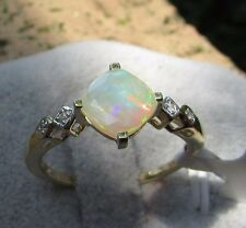 0.98 cts Genuine Ethiopian Opal Solitaire Size 7 Ring 10k Yellow Gold w/Accents