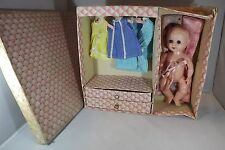 "VINTAGE HARD PLASTIC 10"" ROSEBUD DOLL ORIGINAL DOLLERIES WARDROBE BOX & CLOTHES"