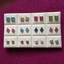 JOB LOT-12 pairs of 3 different styles of colour diamonte studs.Silver plated.