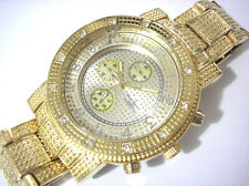Iced Out Bling Bling Big Case Goldtone Bracelet Men's Watch Item 1987