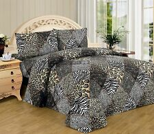 4 Piece QUEEN animal jungle leopard black white zebra print sheet set 2123