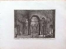 ROMA, TEMPIO  BACCO A PORTA NOMENTANA S. COSTANZA incisione originale XIX secolo