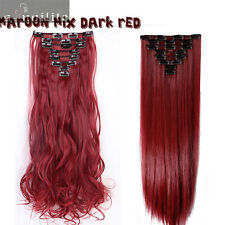 Real Thick Full Head Clip in on Hair Extensions Natural for Human Hair Piece HG6