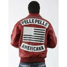 Pelle Pelle Americana USA Flag Leather Jacket Red 100% Authentic Size 48/ Lrg-xl