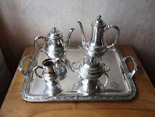 Superbe service à café thé métal argenté Gallia Christofle monogramme GC ou CG