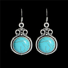 Women Jewelry Ethnic Tibetan Silver Turquoise Stone Drop Earrings