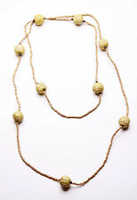LONG STYLEABLE BEIGE WOODEN TRIBAL BEAD PUNCTUATED HOLIDAY-READY NECKLACE (ZX42)