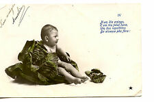 Funny Picture-Naked Baby-Large Head of Cabbage-RPPC-Real Photo Vintage Postcard