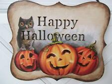 NWT 3 JACK O LANTERN & OWL HAPPY HALLOWEEN  LED Light Up Wood Wall Sign