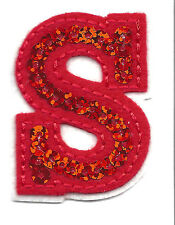 """LETTERS  - Red Sequin  2"""" Letter """"S"""" - Iron On Embroidered Applique"""