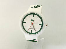 102N NEW LACOSTE UNISEX WATCH WHITE SILICONE STRAP GOA WHITE GREEN LOGO 2010522