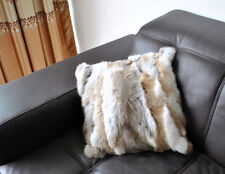 Handmade Throw Decorative Real Rabbit Fur Pillow Case Cushion Protector Cover